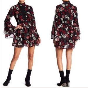 Lucca | Black & Red Floral Dress XS